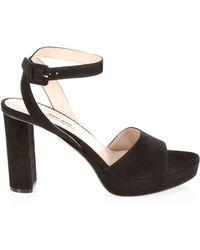 57ba8922543 Lyst - Miu Miu Crystal Block Heel Sandals in Black