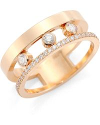 Messika | 'move Romane' Diamond 18k Rose Gold Ring | Lyst