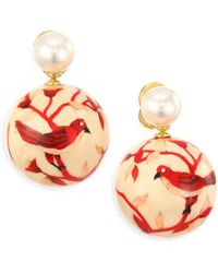 Silvia Furmanovich - 12mm White Round Pearls, Diamonds And 18k Yellow Gold Bird Earrings - Lyst