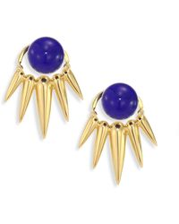 Nikos Koulis - Spectrum Lapis & 18k Yellow Gold Ear Jacket & Stud Earrings Set - Lyst