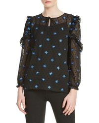 Maje - Floral Embroidered Top - Lyst