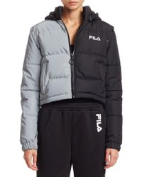 Fila - Mikayla Snap Off Sleeve Cropped Puffer Jacket - Lyst