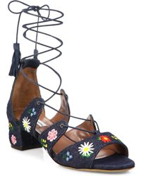 Tabitha Simmons - Isadora Flower-embroidered Denim Lace-up Sandals - Lyst
