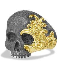 David Yurman - Waves Large Gold Skull Ring - Lyst