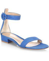 Gianvito Rossi - Portofino Suede Ankle-strap Flat Sandals - Lyst