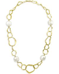 Majorica - 18k Gold-plated Hammered Necklace - Lyst