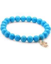 Sydney Evan | Medium Hamsa Diamond, Ruby & Turquoise Beaded Bracelet | Lyst