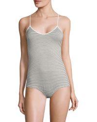 Maison Du Soir - Women's Laguna Striped Bodysuit - White Black Stripe - Lyst