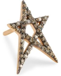 Kismet by Milka - Struck Doodle Star Champagne Diamond Stud - Lyst