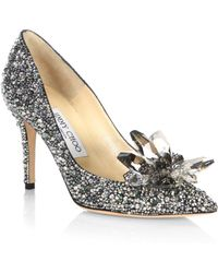 Jimmy Choo - Crystal Suede Point Toe Pumps - Lyst