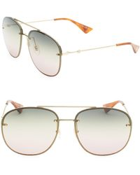 62a7ff5b27 Gucci - Women s Glitter Wire Aviator Sunglasses - Gold - Lyst