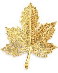 Kenneth Jay Lane - Pave Crystal Maple Leaf Pin - Lyst