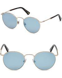 Web - 51mm Rose Gold & Blue Mirror Round Sunglasses - Lyst