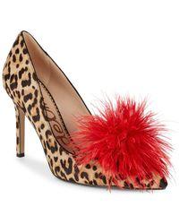 0a001555c Lyst - Sam Edelman Lola Genuine Dyed Calf Hair Ankle Strap Pump