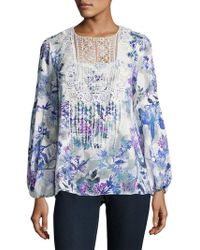 T Tahari - Crochet-accented Floral Top - Lyst
