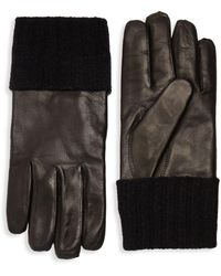 Saks Fifth Avenue - Ribbed Cuff Leather Gloves - Lyst