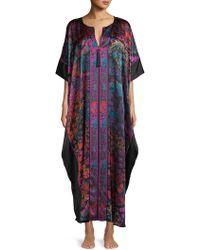 Josie Natori - Printed Silk Caftan - Lyst