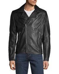 Karl Lagerfeld - Full-zip Leather Moto Jacket - Lyst