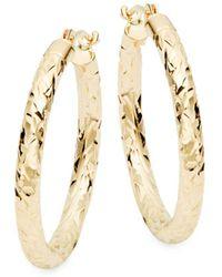 Saks Fifth Avenue - 14k Yellow Gold Textured Hoop Earrings - Lyst