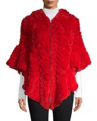 Belle Fare - Herringbone Dyed Rex Rabbit Fur Poncho - Lyst