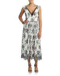 Vera Wang - Two-tone Embroidered Lace Dress - Lyst