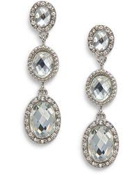 Nine West - Triple Glass Drop Earrings - Lyst