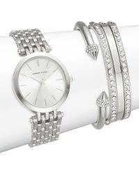 Adrienne Vittadini - Glitz Silvertone Link Bracelet Watch Set - Lyst