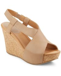 Kenneth Cole Reaction - Sole Cross Leather Platform Wedge Sandals - Lyst
