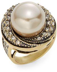 Heidi Daus - A Chic Setting Faux Pearl Crystal Ring - Lyst