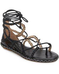 BCBGMAXAZRIA - Maye Woven Leather Lace-up Sandals - Lyst