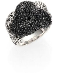 John Hardy - Classic Chain Black Sapphire & Sterling Silver Large Braided Ring - Lyst