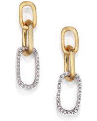 Marco Bicego - Murano Diamond, 18k White & Yellow Gold Link Drop Earrings - Lyst