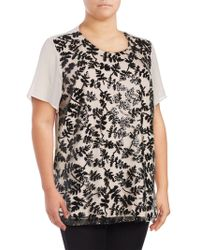 Chaus New York - Short Sleeve Sequined Embroidered Blouse - Lyst