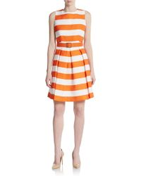 Chetta B - Belted Stripe Fit & Flare Dress - Lyst