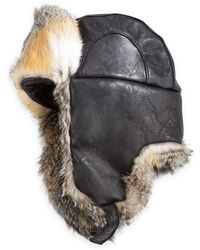 Crown Cap - Fox Fur & Leather Aviator Hat - Lyst