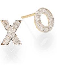 Kacey K - Diamond & 14k Gold Hugs & Kisses Stud Earrings - Lyst