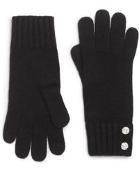 Saks Fifth Avenue Black - Embellished Knit Gloves - Lyst