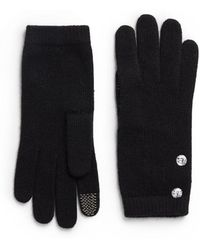 Saks Fifth Avenue Black - Woolblend Crystal Button Gloves - Lyst