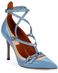 Valentino - Strappy Grommet Leather Pumps - Lyst