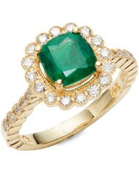 Effy - Diamond, Emerald And 14k Yellow Gold Ring - Lyst