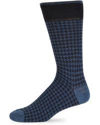 Saks Fifth Avenue - Houndstooth Merino Wool Blend Crew Socks - Lyst