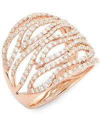 Effy - Diamond And 14k Rose Gold Ring - Lyst
