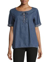 Rag & Bone - Lace-up Cotton Top - Lyst