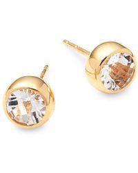 Anzie - Classique 14k Yellow Gold & White Topaz Stud Earrings - Lyst