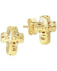 Saks Fifth Avenue - 14k Yellow Gold Textured Cross Earrings - Lyst