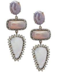 Bavna | Champagne Diamond, Multicolored Sapphire & Sterling Silver Earrings | Lyst