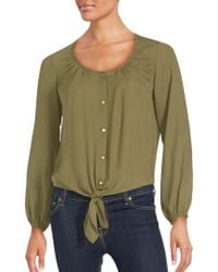 Chaus New York | Knotted Hem Long Sleeve Blouse | Lyst