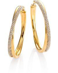 "Michael Kors - Brilliance Statement Pavé Crossover Goldtone Hoop Earrings 1.75"" - Lyst"