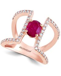 Effy - Final Call Diamond, Natural Mozambique Ruby And 14k Rose Gold Ring - Lyst