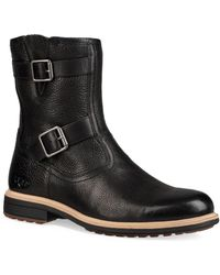 UGG - Motorcycle Leather & Shearling-lined Boots - Lyst